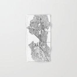 Seattle White Map Hand & Bath Towel