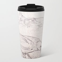 Crow Sketch #1 Metal Travel Mug