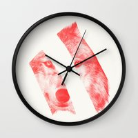 eric fan Wall Clocks featuring Red by Eric Fan & Garima Dhawan by Garima Dhawan
