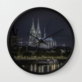 Night View & City Lights Cologne Cathedral in Cologne, North Rhine Westphalia, Germany Wall Clock