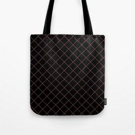 Pantone Red Pear Thin Line Stripe Grid (Pinstripe Pattern) on Black Tote Bag