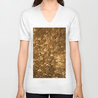 gold glitter V-neck T-shirts featuring Gold Glitter 2484 by Cecilie Karoline