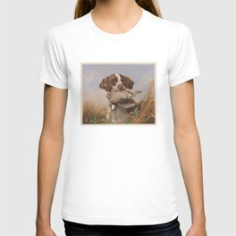 Vintage English Pointer Hunting Quail Painting (1869) T-shirt