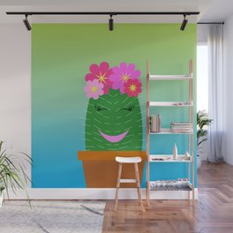 The Happiest Little Cactus Wall Mural
