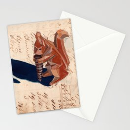 Vintage Wood Carved Squirrel in Gouache Stationery Cards