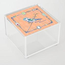 Sparrow Mahjong in Orange Acrylic Box