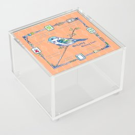 Sparrow Mahjong in Orange Acrylic Box