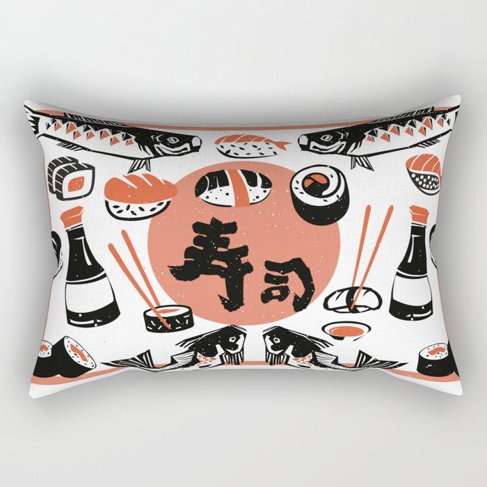 Sushi And Soy Sauce Rectangular Pillow