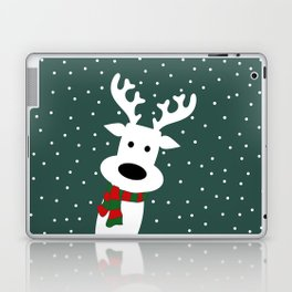 Reindeer in a snowy day (green) Laptop & iPad Skin