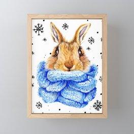 Snowy bunny Framed Mini Art Print