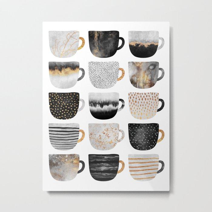 Pretty Coffe Cups 3 - White Metal Print