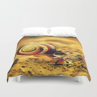 snail Duvet Covers featuring Snail by Alexandra Baker