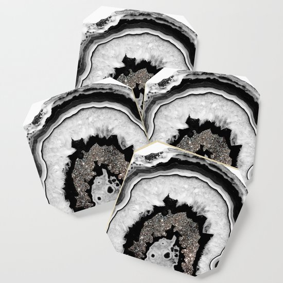 Black White Silver Grey Agate Geode Epoxy Resin Tray with Graphite Matt Handles