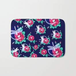 Full bloom | Dragonfly loves roses Bath Mat