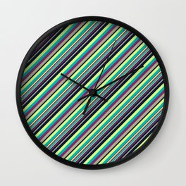 Summer Flowers Inclined Stripes Wall Clock