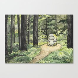 Statue in a Forest Watercolor Painting Canvas Print