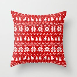 Rottweiler Silhouettes Christmas Sweater Pattern Throw Pillow