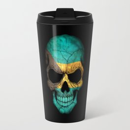 Dark Skull with Flag of Bahamas Travel Mug