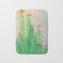Cactus garden with orange flowers Bath Mat