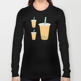 Passion Fruit Bubble Tea Pattern Long Sleeve T-shirt