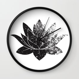 Boho - black and white lotus Wall Clock