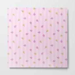 Pastel pink vintage stripes colorful girly floral Metal Print