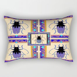 Beetle Insects Art Design in Purple,turquoise & Cream Colors Rectangular Pillow