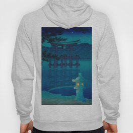 Japanese Woodblock print Torii In The Lake During Night Blue Monochromatic Hoody