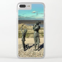 Welcome Home Statue by Anita Lafford on the promenade at Fleetwood - England Clear iPhone Case