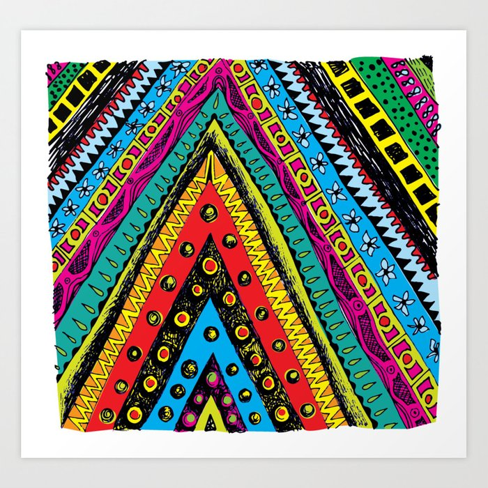 colorful triangle tribal Art Print by zeljkica | Society6