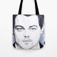 leonardo dicaprio Tote Bags featuring Leonardo DiCaprio by beecharly