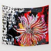 alisa burke Wall Tapestries featuring big messy flower by Alisa Burke