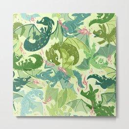 Green Dragons Metal Print