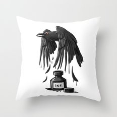 Ink Raven Throw Pillow