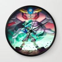 gurren lagann Wall Clocks featuring Gurren Lagann - This Drill will pierce the Heavens by Brian Hollins art