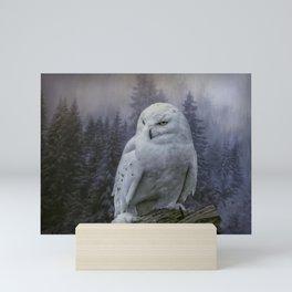 Snowy Owl looking for prey Mini Art Print