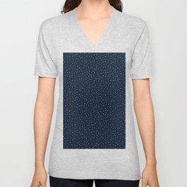 Indigo blue graphic ditsy polka dots seamless pattern. Unisex V-Neck