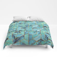 Blue Marble Hexagonal Pattern Comforters