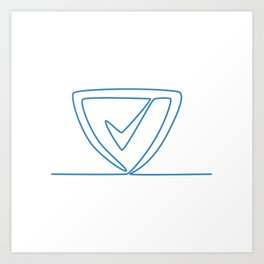 Shield With Check Mark Continuous Line Art Print
