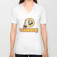 washington V-neck T-shirts featuring Washington Tuskens by Ant Atomic