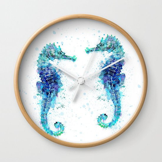 Blue Turquoise Watercolor Seahorse by lebensart