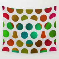 polka dot Wall Tapestries featuring Polka Dot Polka Dots  by Paul Ashby