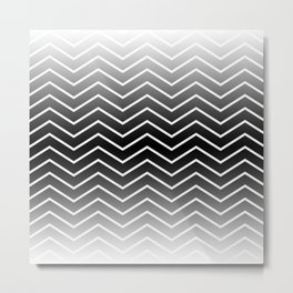 Fat Thin Chevrons Dove White Metal Print