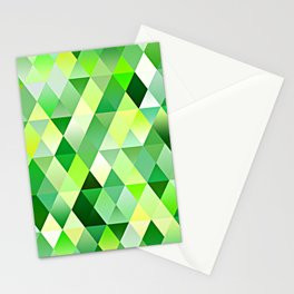 Lime Green Yellow White Diamond Triangles Mosaic Pattern Stationery Cards