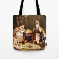 goonies Tote Bags featuring Secret Treasure by Mark Bird