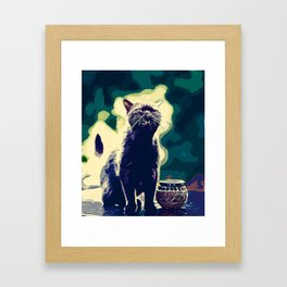 british shorthair cat ready to attack vector art foggy night Framed Art Print