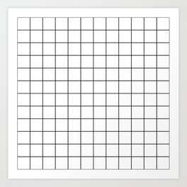 Grid Simple Line White Minimalistic Art Print