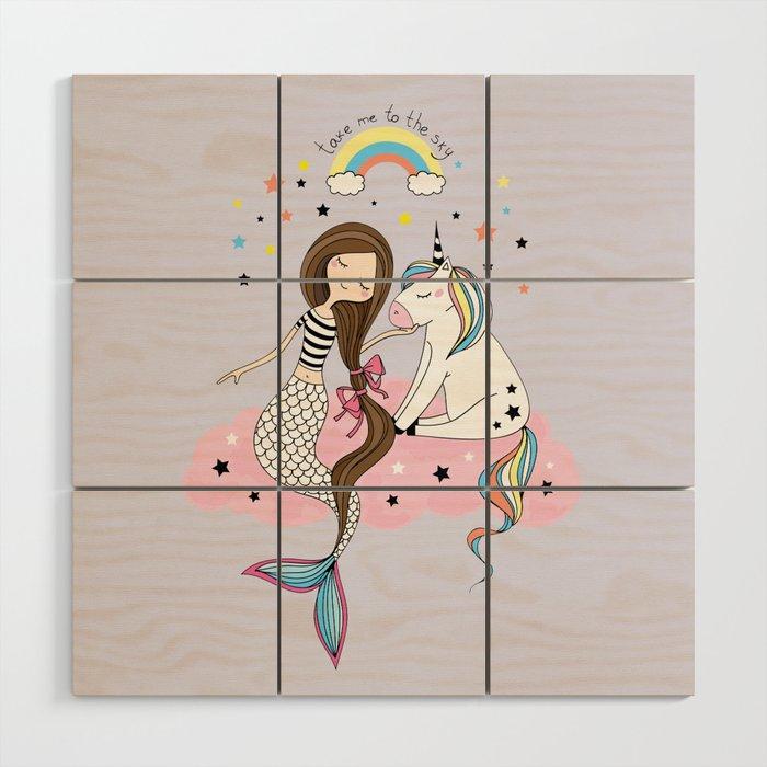 Mermaid & Unicorn Wood Wall Art