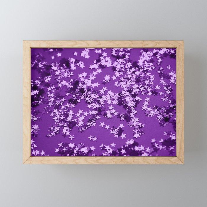 Purple Glitter Stars #1 #shiny #decor #art #society6 Framed Mini Art Print