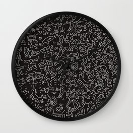 Doodles Homage to Keith Haring Black Wall Clock